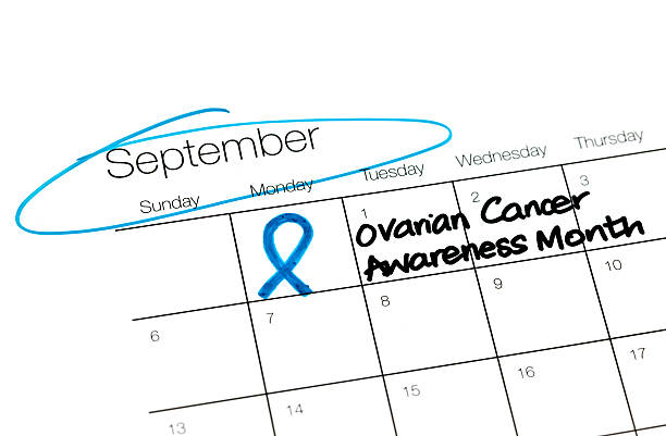 calendar series ovarian cancer month - ovarian cancer ribbon stock pictures, royalty-free photos & images