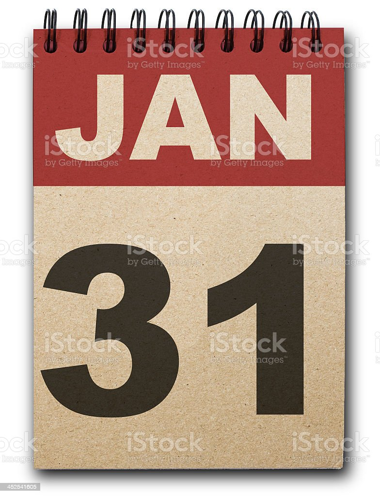A calendar set to January thirty first stock photo