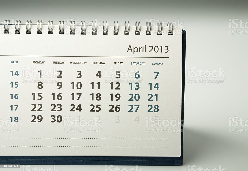 Calendar sheet. April royalty-free stock photo
