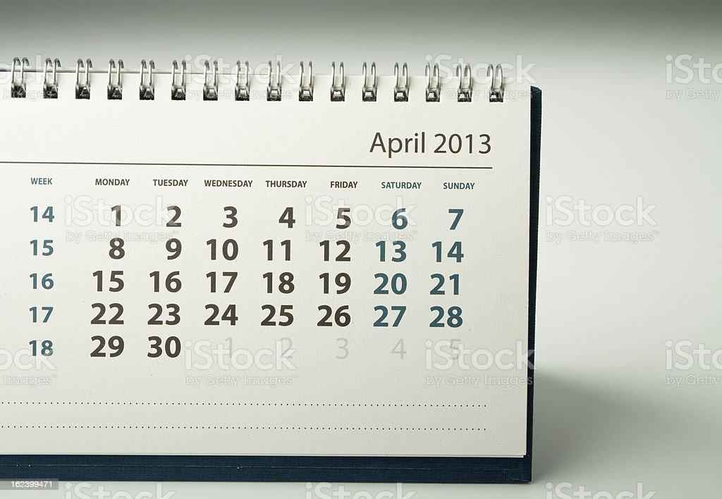 Calendar sheet. April stock photo