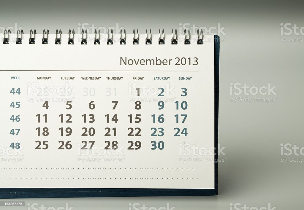 Calendar sheet. November royalty-free stock photo