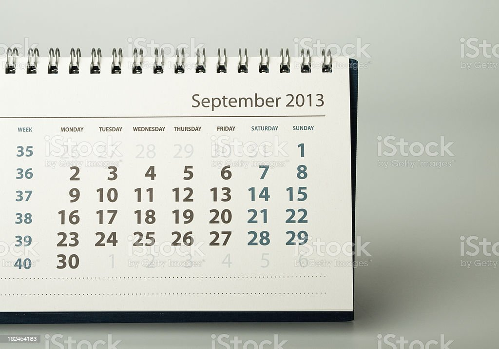 Calendar sheet. September royalty-free stock photo