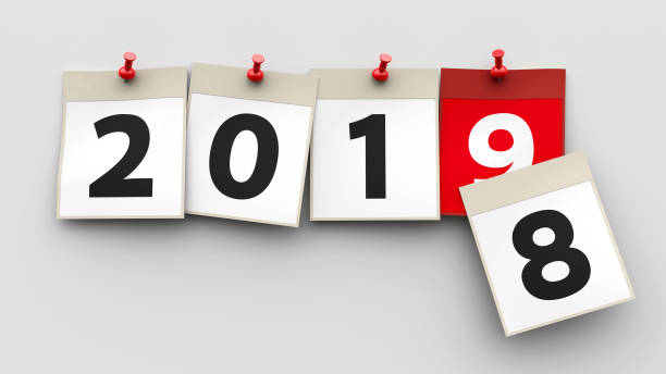 Calendar sheets 2019 Calendar sheets with red pin and numbers 2019 on grey background represent start new year 2019, three-dimensional rendering, 3D illustration 2019 stock pictures, royalty-free photos & images