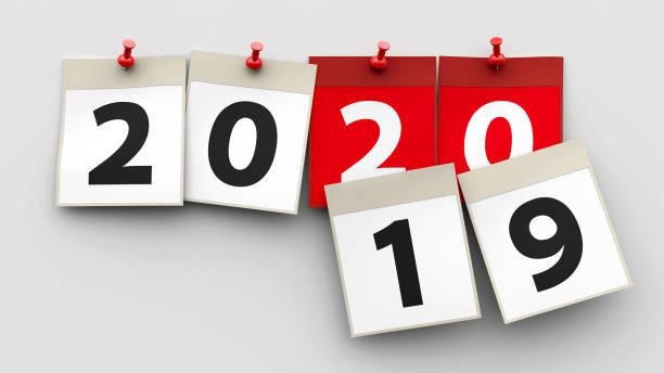 feuilles de calendrier 2020 - calendrier digital journée photos et images de collection