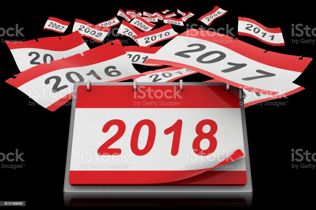 Fogli calendario anno 2018 stock photo