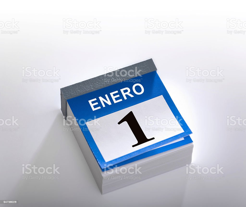 Calendar showing primero de enero 2016 royalty-free stock photo