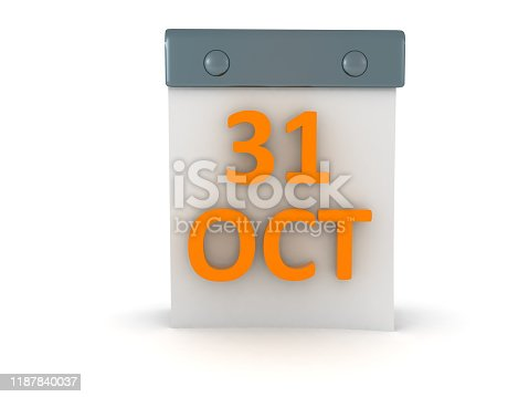 3D Calendar showing the date 31 of October Halloween. 3D Rendering isolated on white.