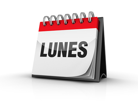 LUNES Calendar - Spanish Word - 3D Rendering