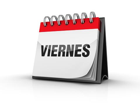 VIERNES Calendar - Spanish Word - 3D Rendering