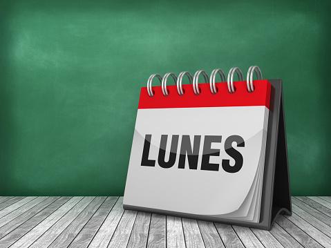 LUNES Calendar - Spanish Word - Chalkboard Background - 3D Rendering