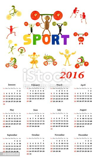 istock 2016 Calendar. Sport.  Little funny people from vegetables and f 494669538