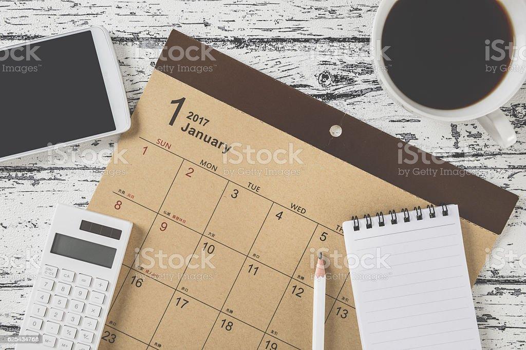 Calendar table photo stock photo
