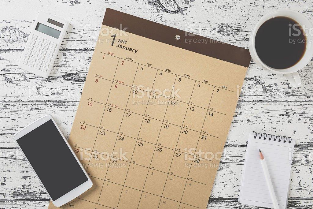 Calendar table photo Calendar table photo 2017 Stock Photo