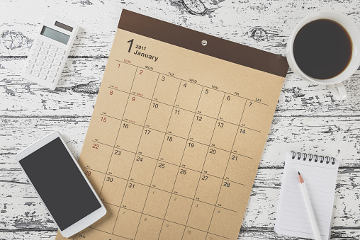 Calendar Table Photo Stock Photo - Download Image Now