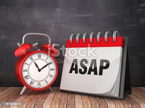 ASAP Calendar with Alarm Clock on Chalkboard Background - 3D Rendering