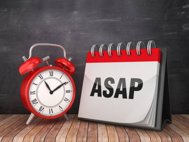 ASAP Calendar with Alarm Clock on Chalkboard Background - 3D Rendering ASAP Calendar with Alarm Clock on Chalkboard Background - 3D Rendering ASAP stock pictures, royalty-free photos & images