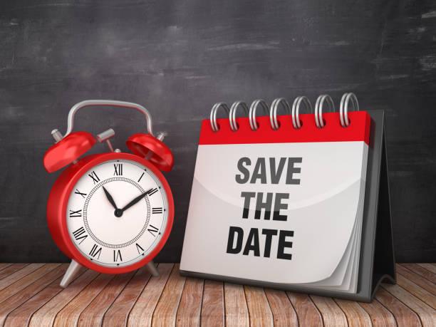 save the date kalender mit wecker auf tafel hintergrund - 3d rendering - save the date stock-fotos und bilder