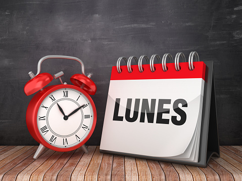 LUNES Calendar with Alarm Clock - Spanish Word - Chalkboard Background - 3D Rendering