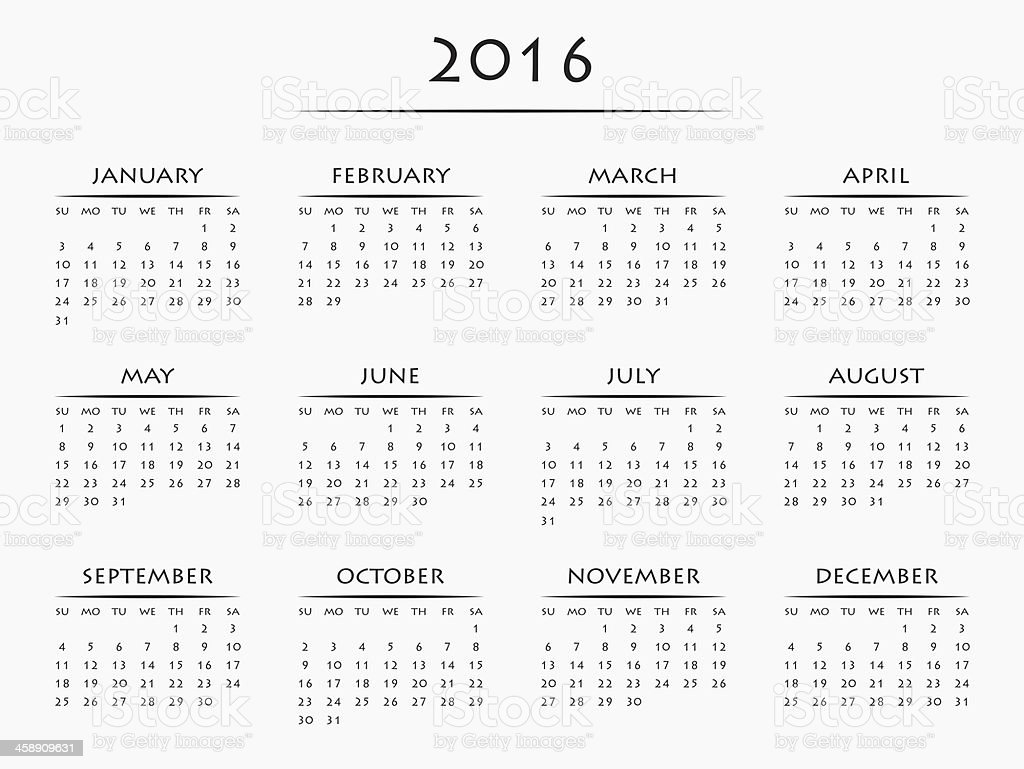 A 2016 Calendar With All 12 Months On One Page Stock Photo