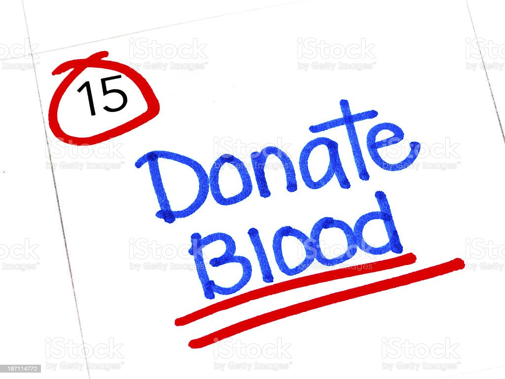 Calendar with Blood Donation Reminder royalty-free stock photo