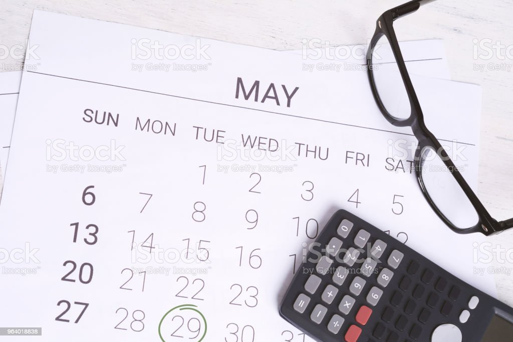 Calendar with calculator. Financial planning concept. - Royalty-free Accountancy Stock Photo