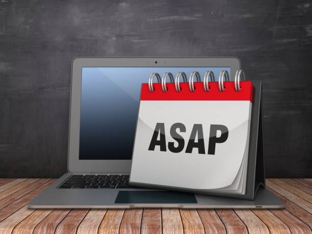 ASAP Calendar with Computer Laptop on Chalkboard Background - 3D Rendering ASAP Calendar with Computer Laptop on Chalkboard Background - 3D Rendering ASAP stock pictures, royalty-free photos & images