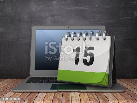 XXXX Calendar with Computer Laptop on Chalkboard Background - 3D Rendering