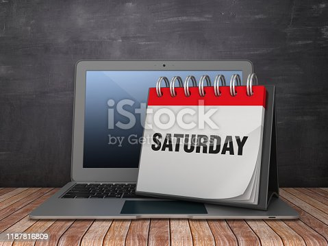 SATURDAY Calendar with Computer Laptop on Chalkboard Background - 3D Rendering