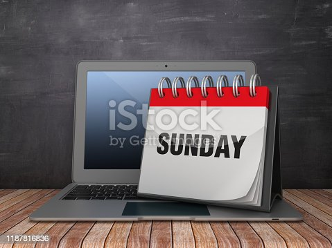 SUNDAY Calendar with Computer Laptop on Chalkboard Background - 3D Rendering