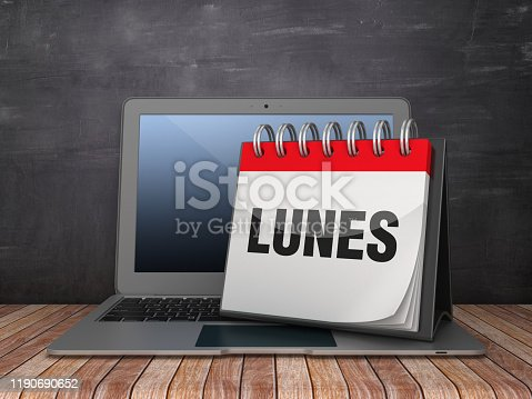 LUNES Calendar with Computer Laptop on Chalkboard Background - 3D Rendering