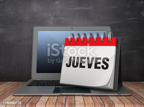 JUEVES Calendar with Computer Laptop on Chalkboard Background - 3D Rendering