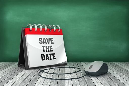 SAVE THE DATE Calendar with Computer Mouse - 3D Rendering