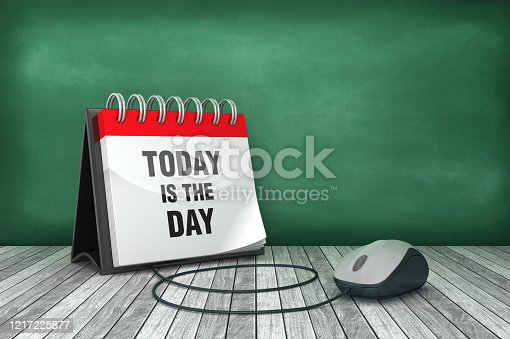TODAY IS THE DAY Calendar with Computer Mouse - 3D Rendering