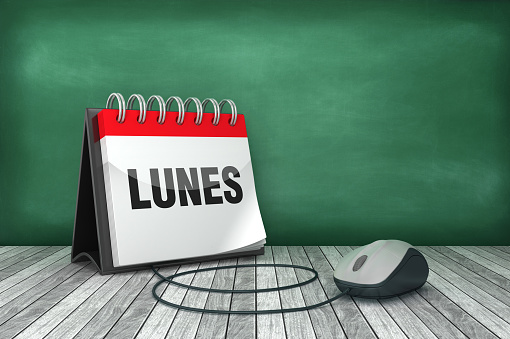 LUNES Calendar with Computer Mouse - Spanish Word - 3D Rendering