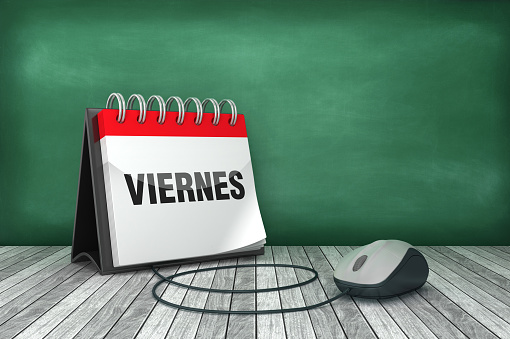 VIERNES Calendar with Computer Mouse - Spanish Word - 3D Rendering
