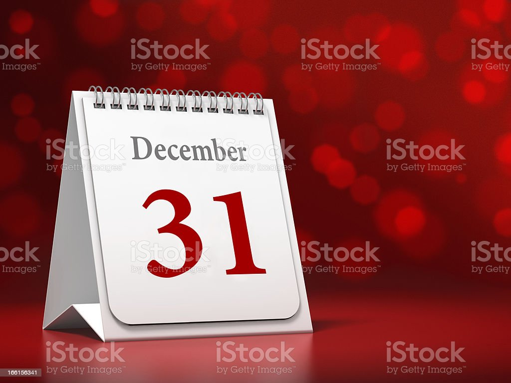 Calendar with Happy New Year date stock photo