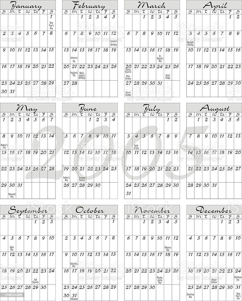 Calendario Con Festivita.2005 Calendario Con Festivita Fotografie Stock E Altre