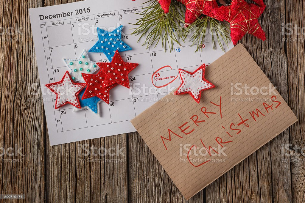 Calendar with marked date of christmas day stock photo