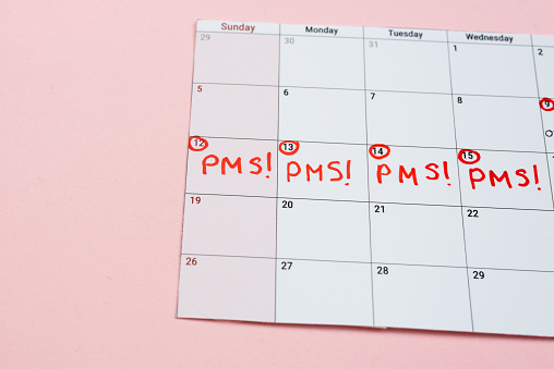 istock Calendar with marked pms days 1223382738