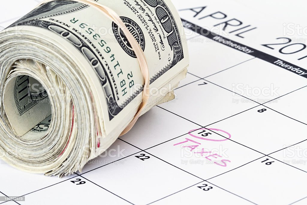 calendar with money stock photo