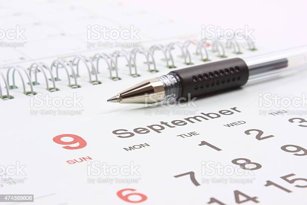 Calendar With Pen Stock Photo - Download Image Now
