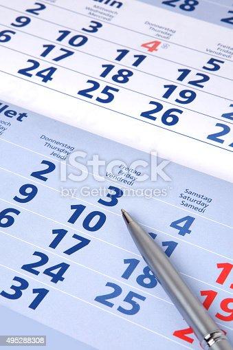 istock Calendar with pen 495288308