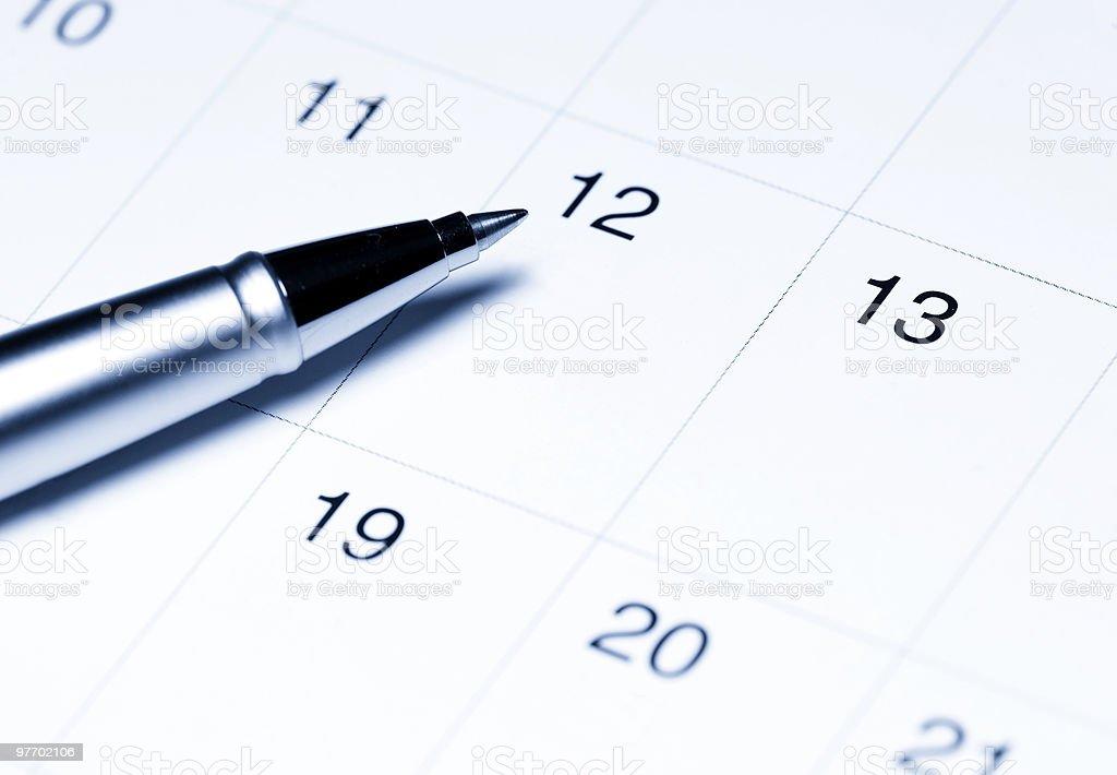 Calendar with pen royalty-free stock photo