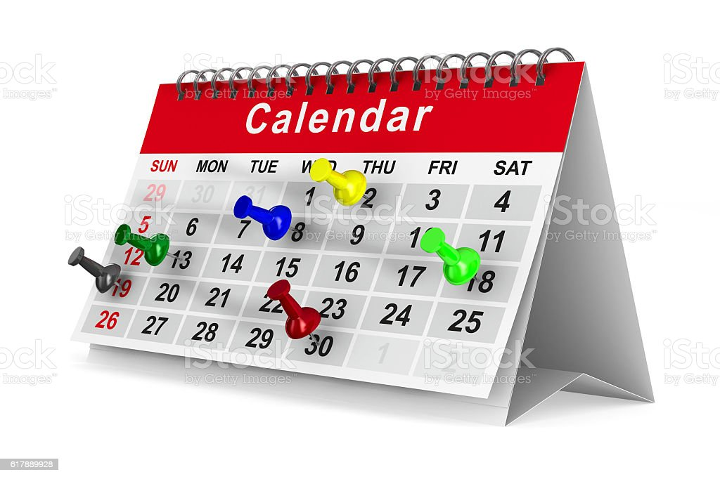 Calendar with pins on white background. Isolated 3D image stock photo