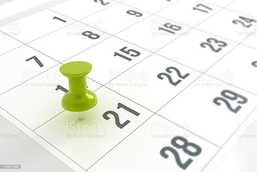 Calendar with Pushpin stock photo