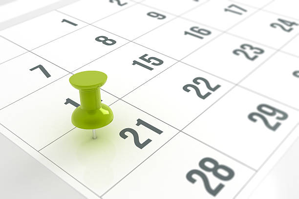 calendar with pushpin - number 21 stock photos and pictures