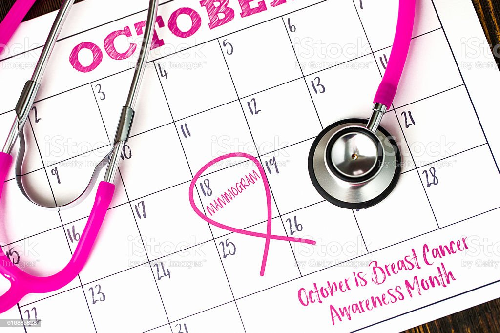 Calendar with reminder for mammogram and Breast Cancer Awareness stock photo