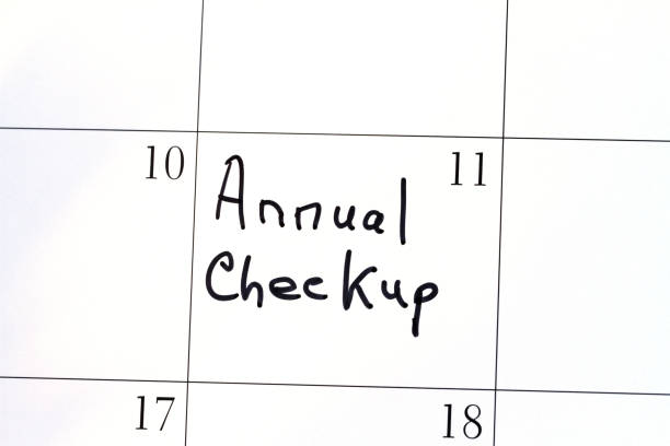 Calendar with reminder note of Annual Checkup appointment stock photo