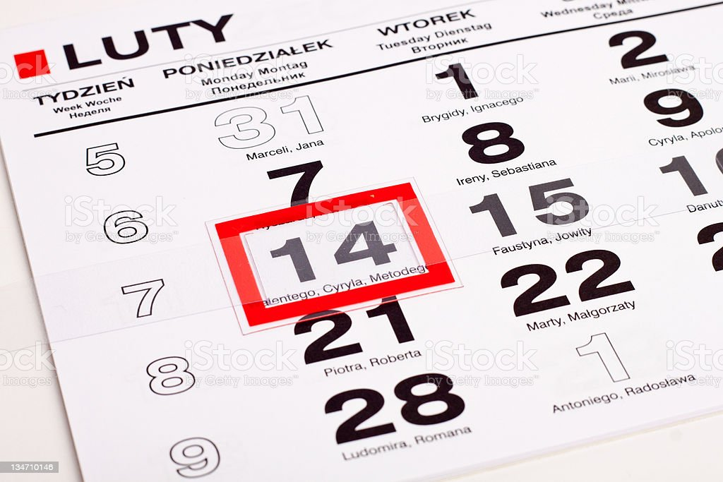 Calendar with selected Valentine's Day royalty-free stock photo