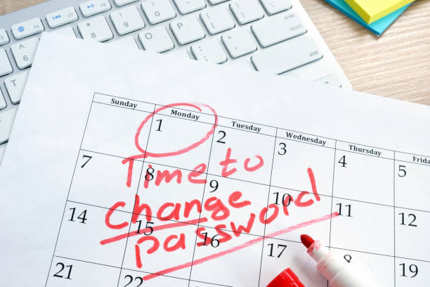 Calendar with words Time to change password. Password management. stock photo